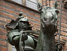 Sculpture of Knight on Horse on side of Bremer Rathaus in Bremen - Germany